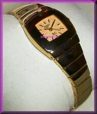 OMAX GOLD BAND LADIES LUPHA DOME DRESS WATCH 3-D FACE PLACE IN GOLD TONE NEW WOW