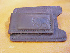 Brown BUFFALO Leather Money Clip Card Case hand crafted by disabled veteran 5003