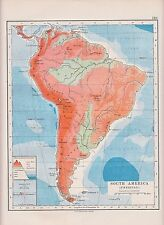 1931 MAP ~ SOUTH AMERICA ~ PHYSICAL HEIGHTS AND DEPTHS