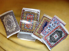"Woven Turkish Miniature Dollhouse Carpets Rugs-Qty 1- Assorted - ~6.5"" x 3.5"""