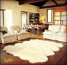 FUR ACENTS Faux Sheepskin Area Rug Thick White Shag Octo 8-Pelt Design