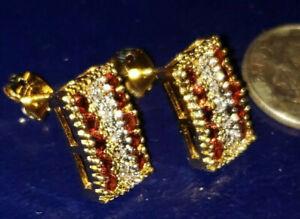 """18k Gold Earrings (GW) - NEW - w/10 Rubies & 4 Diamonds - Pierced - 1/4"""" X 1/2"""""""