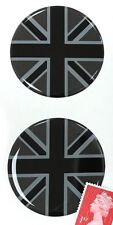 2 x Union Jack Flag Stickers Domed Finish Black & 2 Tone Grey 50mm Diameter