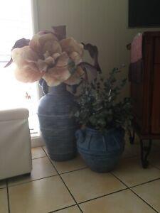Large Vase And Smaller Vase With Dried Floral Arrangement