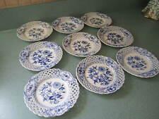 9 ANTIQUE MEISSEN BLUE ONION BREAD  PLATES  OPEN RETICULATED