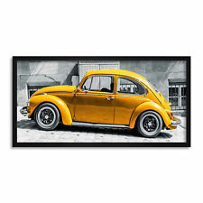 More details for yellow bug car automobile retro long panel framed wall art print 12x25 inch