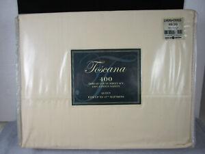 NEW! Cream Yellow TOSCANA QUEEN 4 piece Sheet Set 100% Cotton Sateen Flat Fitted