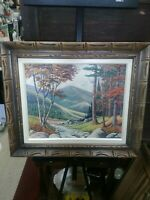 "Oil Painting Landscape River Autumn Stream Scene Framed 27.5""x 23.5"""