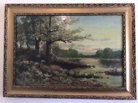Very old antique gilt framed original signed oil painting 1904