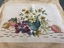 Antique vtg wool needlepoint seat/chair/pillow cover flowers and fruit