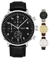 Stuhrling Men's 3911L Quartz Chronograph Dress Genuine Leather Band Sports Watch