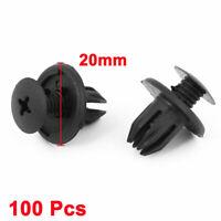 100pcs Car Fender Black Plastic Trim Boot Rivets Push Clip for 10mm Dia Hole