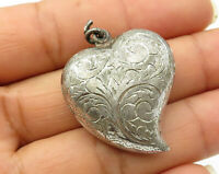 925 Sterling Silver - Vintage Puffy Floral Vine Curved Heart Pendant - P3529