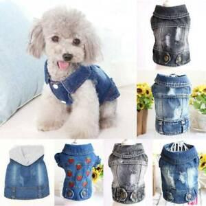 Various Dog Small Dog Cat Jean Jacket Puppy Sleeveless Coat Apparel Pet Clothes
