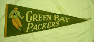 Vintage 1950s Original Green Bay Packers NFL Football Full Size Pennant ~  AS IS