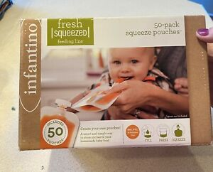 NEW!!Fresh Squeezed Feeding Line 50 Pack squeeze pouches Infantino