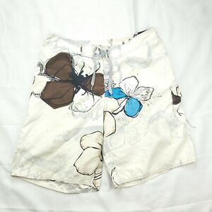 Quicksilver Board Men's Shorts White Floral Hibiscus Swim Trunks Size 36