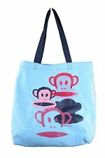 Paul Frank Monkey Core I Heart Sky Blue Cotton Canvas Shopping Bag Tote NWT