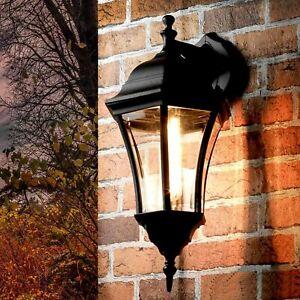 RUSTIC Garden Outdoor WALL LIGHT Black Aluminium Clear Glass H43.5cm Licht
