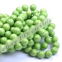 Lots Howlite Green Turquoise Gemstone Jewelry Round Loose Beads DIY Bracelet