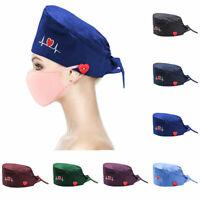Unisex Surgical Cap Doctor Nurse Baotou Bouffant Cap Adjustable Head Cover Hat A
