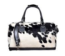 Large Weekend Bag Black Real Hair On Premium Cowhide Leather Duffel Cabin Travel
