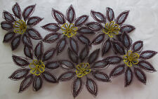 Vintage Lrg. Beaded Flowers Lavender Purple & Yellow French