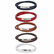 Men Women Multi-layer Leather Braided Bracelet Stainless Steel Clasp Wrist Cuff