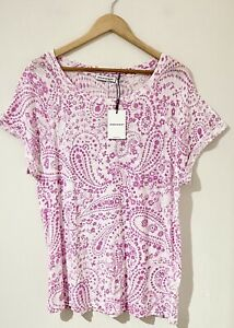 Sportscraft Size XL 16 Top Lucy Short Sleeve White Pink Paisley Cotton BRAND NEW