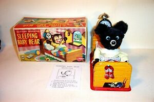 MINT 1950's LINEMAR SLEEPING BABY BEAR BATTERY OPERATED TIN LITHO TOY JAPAN MIB