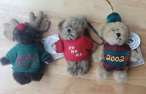 "Boyds Bears 4"" Christmas Minis 'BELLS' the Moose 'JINGLE BEAR' 2002 & Bear In Ho"