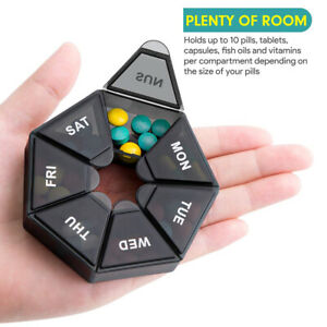2pcs/set Pill Case Plastic 7 Compartment Pill Box Portable Medicine Storage