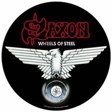 """SAXON - """"WHEELS OF STEEL"""" - CIRCULAR LARGE SIZE - SEW ON BACK PATCH"""