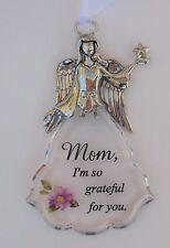FD Mom I'm so grateful for you Faith & Flowers ANGEL ORNAMENT car charm ganz