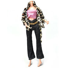 Leopard Coat Barbie Doll Beautiful Barbie Cloth Black Pants Three-Piece Suit ecL