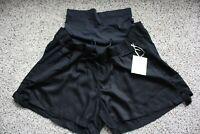 a glow Maternity Shorts Black Tie Size S M L XL Elastic Waist Full Panel Comfort
