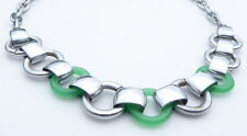 Classic Art Deco Chrome and Green Glass Link Necklace