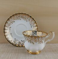 Royal Albert Footed Tea Cup / Teacup and Saucer w/ Gold Leaves vines and Flowers