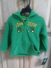 JOHN DEERE Boy or Girls Month ZIP-UP HOODIE SWEATSHIRT (Green Fleece)18M
