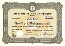 Deutsche Linoleum-Werke AG 100 RM 1933 Berlin