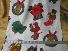 Vintage HALLMARK ?  Christmas Fabric Teddy Bears Wreaths Stockings