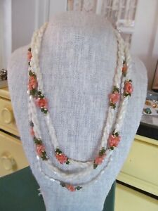 """Vintage Hawaiian Jade Coral Twisted Mother Of Pearl Strand 3 Necklaces lot. 23"""""""