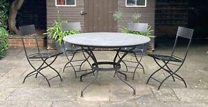 Large Round Polished Slate Dining Table - Metal base  - Garden/Interior