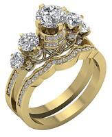 5 Stone Annivarsary Bridal Ring Set I1 G 2.15 Ct Genuine Diamond 14K Yellow Gold