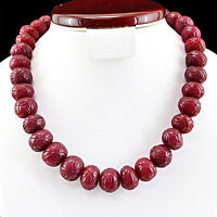 GENUINE 1000.00 CTS EARTH MINED RICH RED RUBY ROUND SHAPED CARVED BEADS NECKLACE