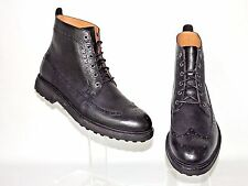 NEW RALPH LAUREN POLO BLACK PUNCHED LEATHER LACE UP BOOTS UK 8. EU42. LAST PAIR