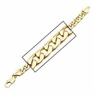 Men's Stainless Steel Gold Plated Diamond Cut Curb Chain Bracelet
