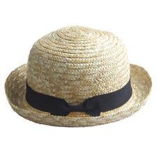 Women 100% Straw Round Top Hat Bowler Derby Cap Summer Beach Sun Cap