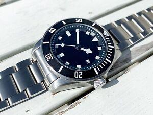 Men's Stylish Automatic Hand Wind Wrist Watch Black Dial Rotating Bezel