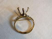 Beautiful Brooch Pin Gold Tone Diamond Ring Setting Clear Rhinestones UNIQUE